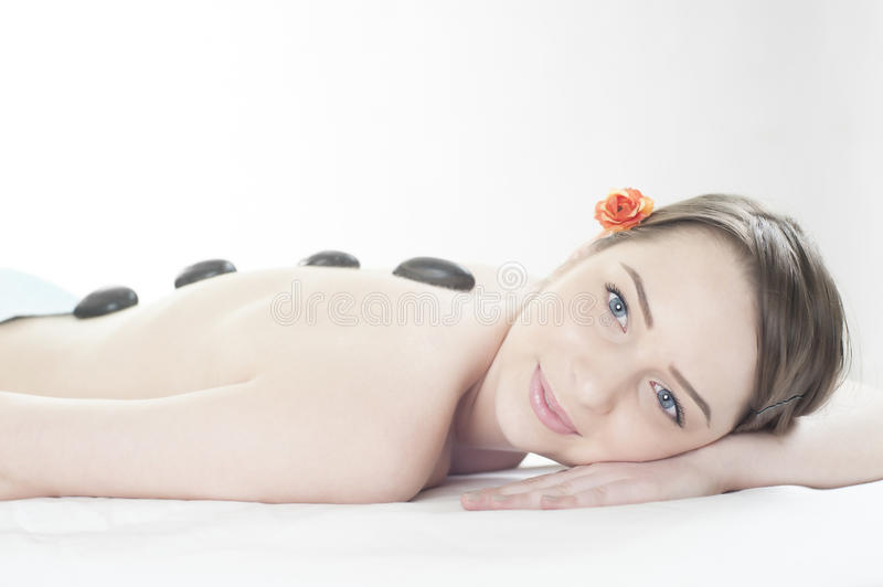 Black stone massage at spa center