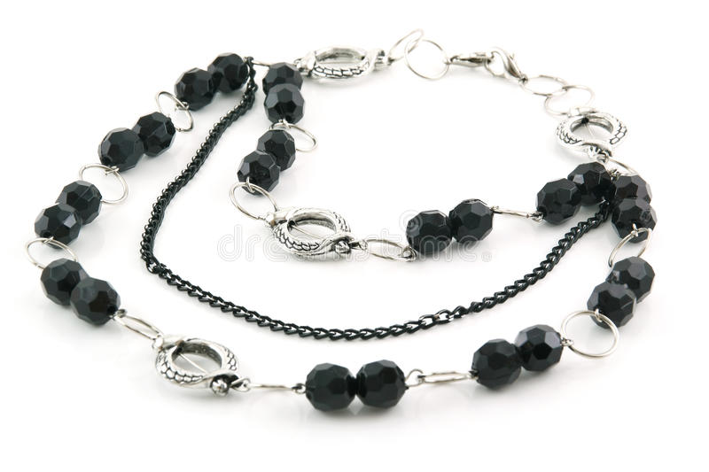 Download Black Stone Necklace Isolated On White Stock Photo - Image: 12225746
