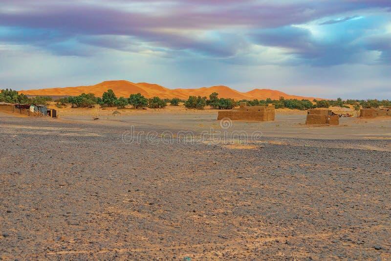 Black stoned desert in Merzouga Sahara near Erg Chebbi, Morocco in Africa royalty free stock images