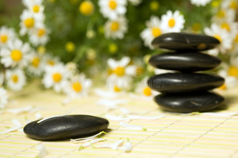 Black stones. An image of black little stones for spa massage stock photo