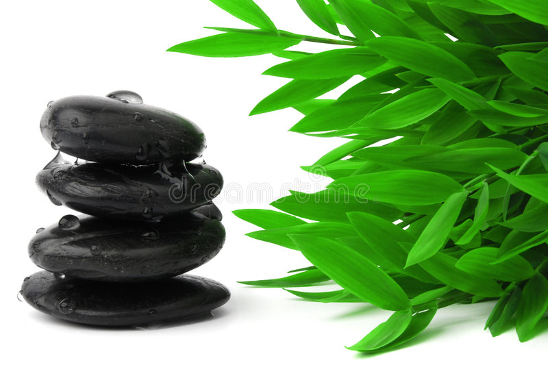 Black stones and bamboo leaves. On white background stock photography