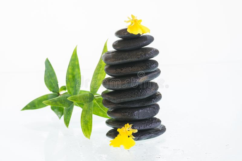 Black zen stones with Oncidium orchids and bamboo leaves royalty free stock photography