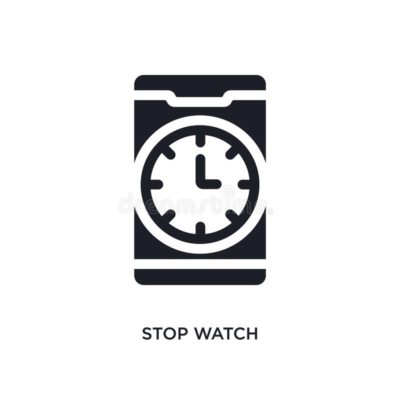 Black stop watch isolated vector icon. simple element illustration from mobile app concept vector icons. stop watch editable logo. Symbol design on white stock illustration