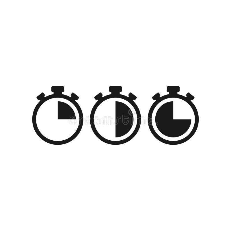 Black stopwatch set with 15, 30, 45 minutes. flat icon isolated on white. Fast time stop watch, limited offer, deadline symbol stock illustration