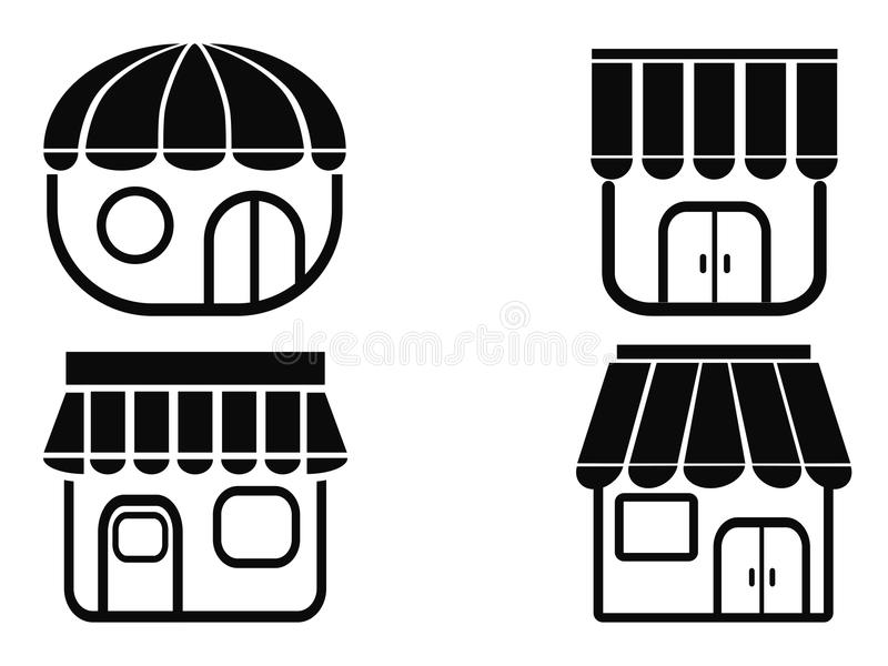 Black store icons. Isolated black store icons from white background