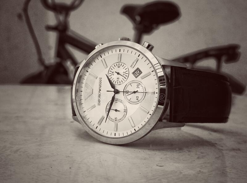 Black Strap Silver Round Chronograph Watch stock photography