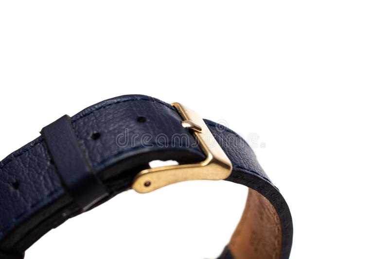 Black strap and wrist watch clasp, isolated royalty free stock image