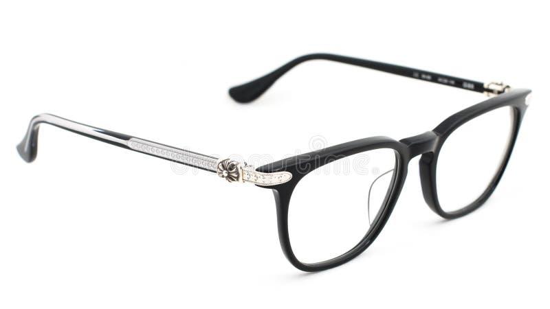 Black strict eye glasses on a white background stock photo