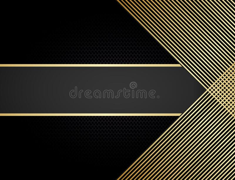 Black stripe with gold border on the dark background. Vector illustration royalty free stock image