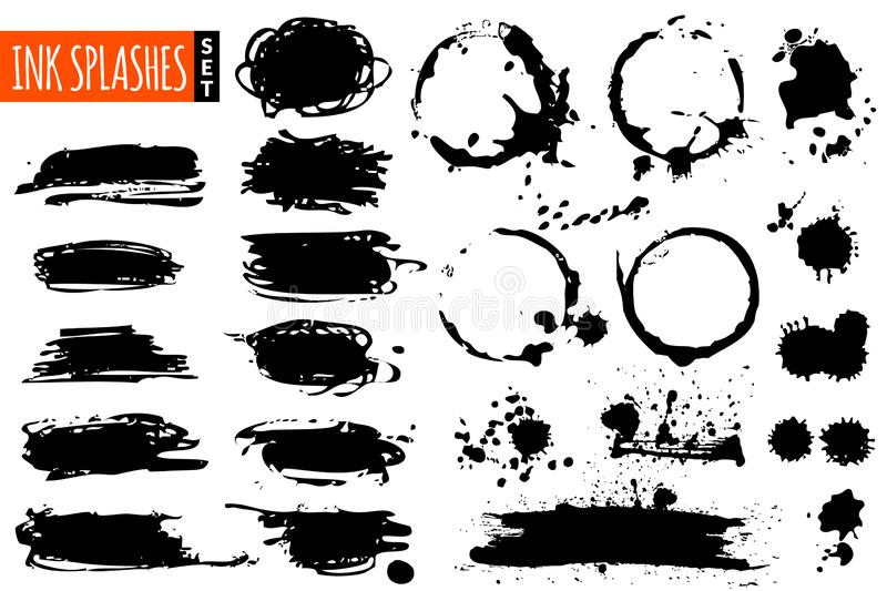 Black stripes, round ink imprinted frames and splashes set vector illustration