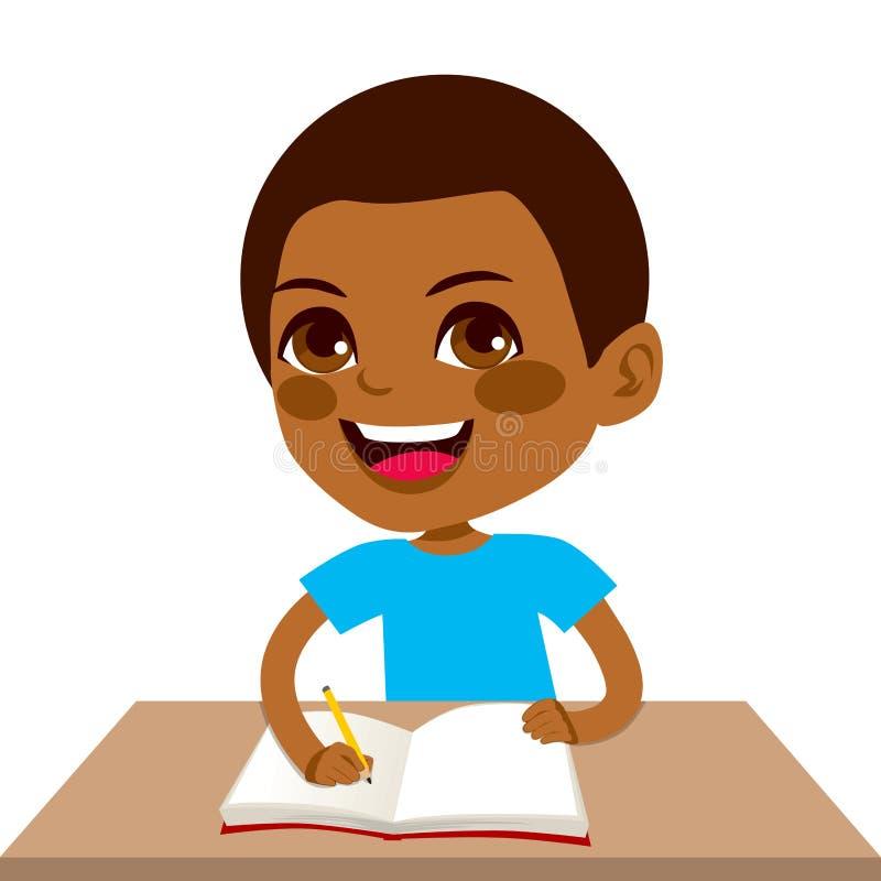 Black Student Boy Writing. Cute little black student boy writing and smiling happy sitting on desk stock illustration