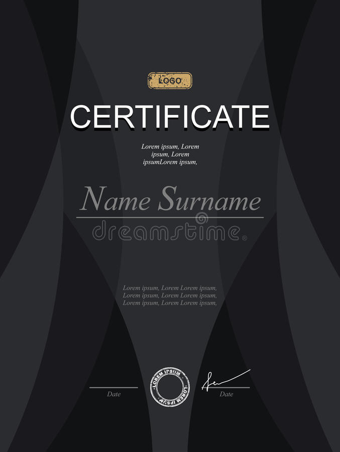Black stylish certificate. Template for diploma. Strict modernist certificate in dark tones. Template for serious black royalty free illustration