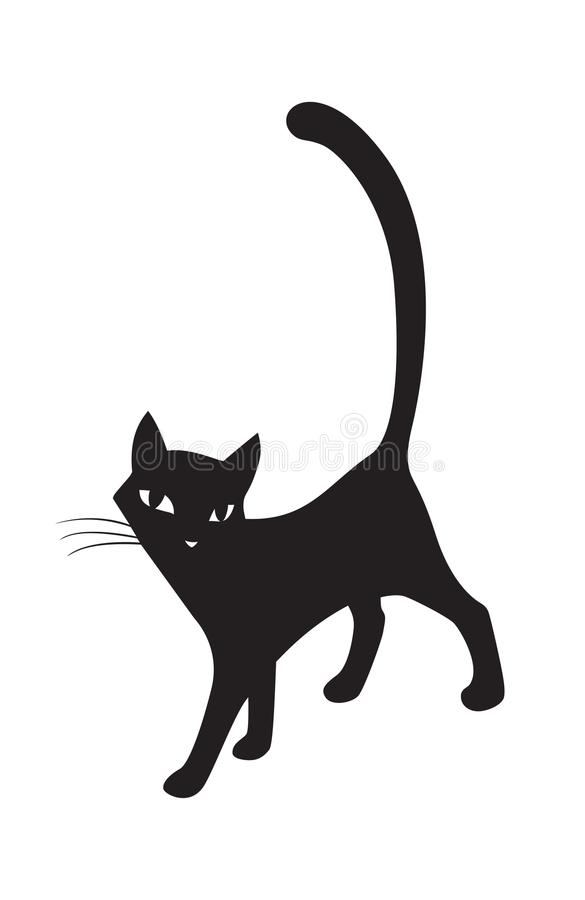 Black Stylized Cat Silhouette Symbol For The Logo Vector Stock