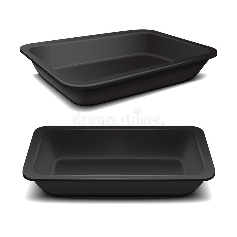 Black styrofoam food storage. Food plastic tray, dark foam meal container, empty box for food vector illustration. For your design stock illustration