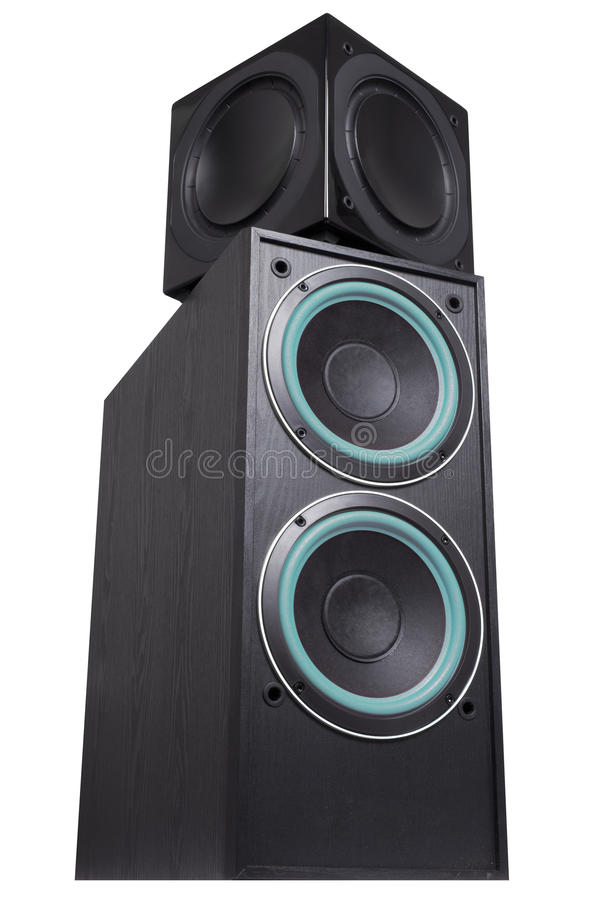 Black Sub-woofer And Speakers Royalty Free Stock Photo