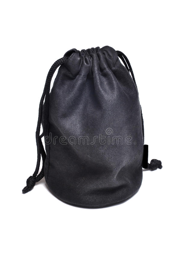 Black suede bag. Isolated on white background stock photos
