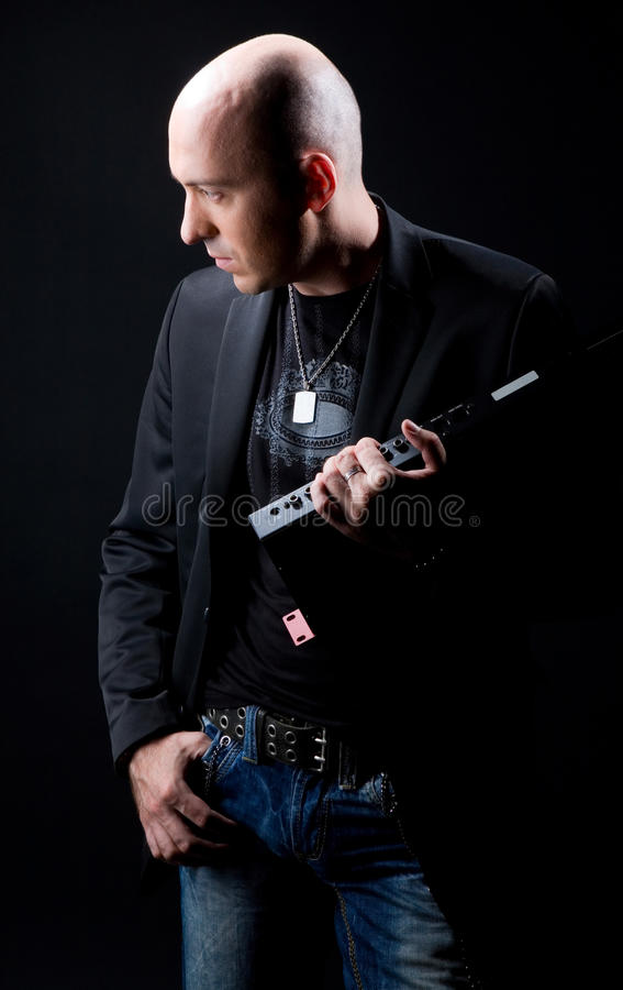 Black suit on a black background royalty free stock photo