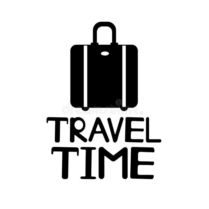 Black suitcase and phrase Travel time on the white background. vector illustration