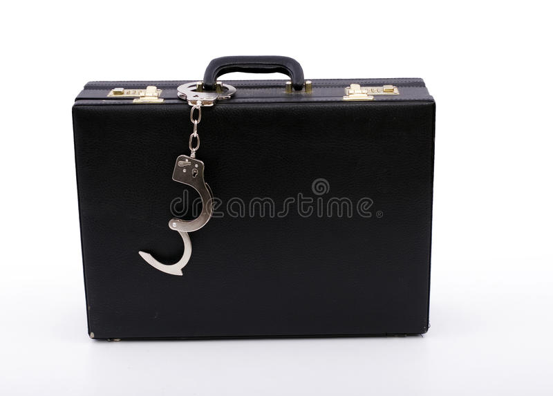 Download Black Suitcase From Pinned Handcuffs Stock Image - Image of cash, files: 11612327