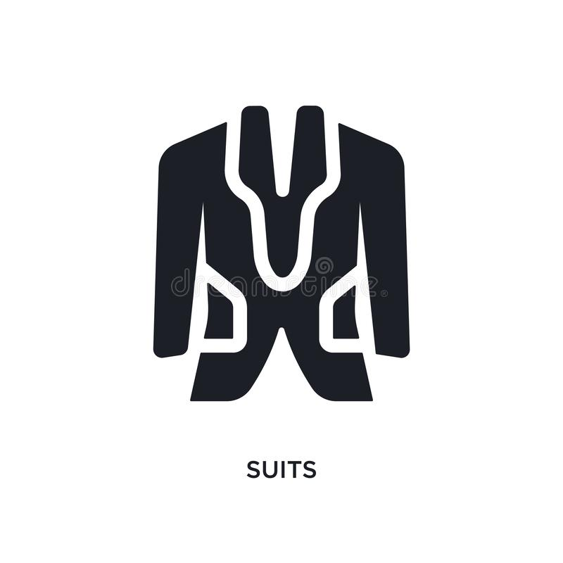 Black suits isolated vector icon. simple element illustration from accommodation concept vector icons. suits editable logo symbol. Design on white background royalty free illustration