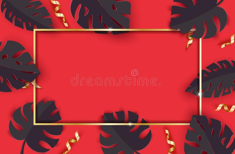 Black summer tropical leaves and gold serpentine on red background in paper cut style. Craft jungle plants collection. With frame and confetti. Vector card vector illustration