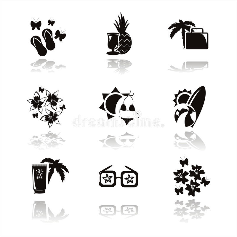 Download Black Summer Vacation Icons Stock Vector - Illustration of fauna, holiday: 19059849