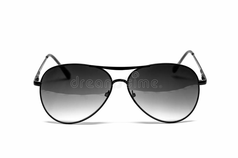 Black sunglasses isolated detail. Black sunglasses on white background stock photos