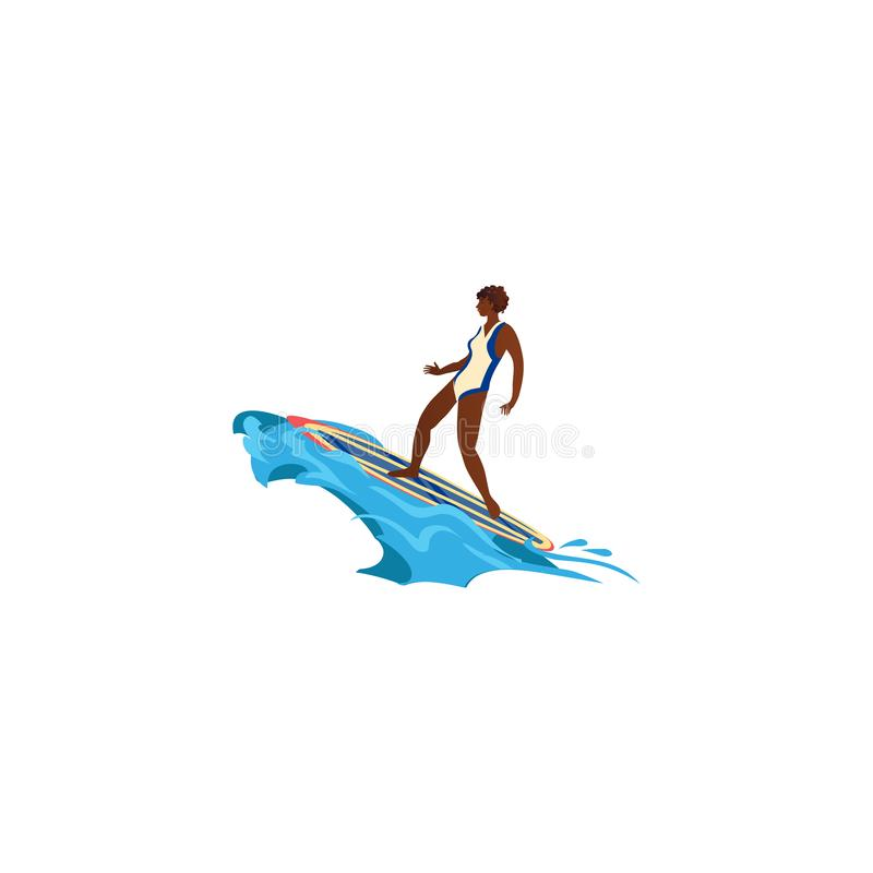 Black surfer girl in action. Raster illustration in flat cartoon style. Young surf girl with surfboard riding on the wave. Surfer in a white bathing suit in vector illustration