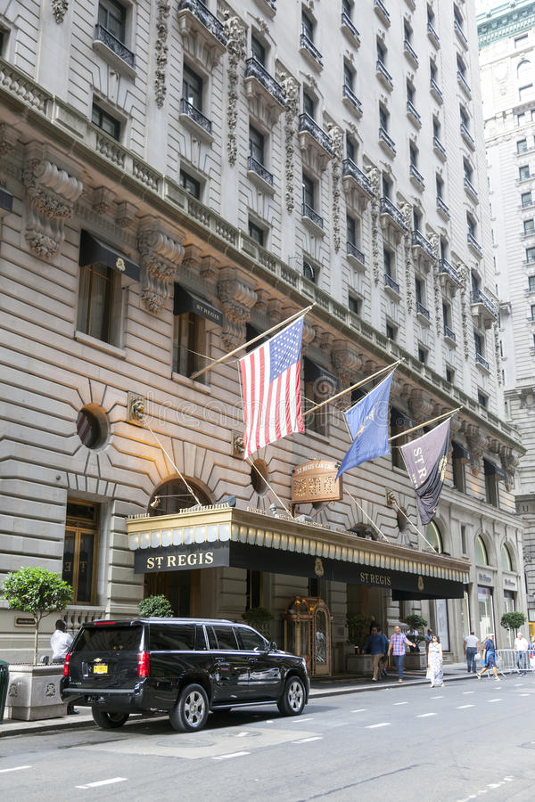 Black suv in front of st regis hotel in manhattan new york city stock photography