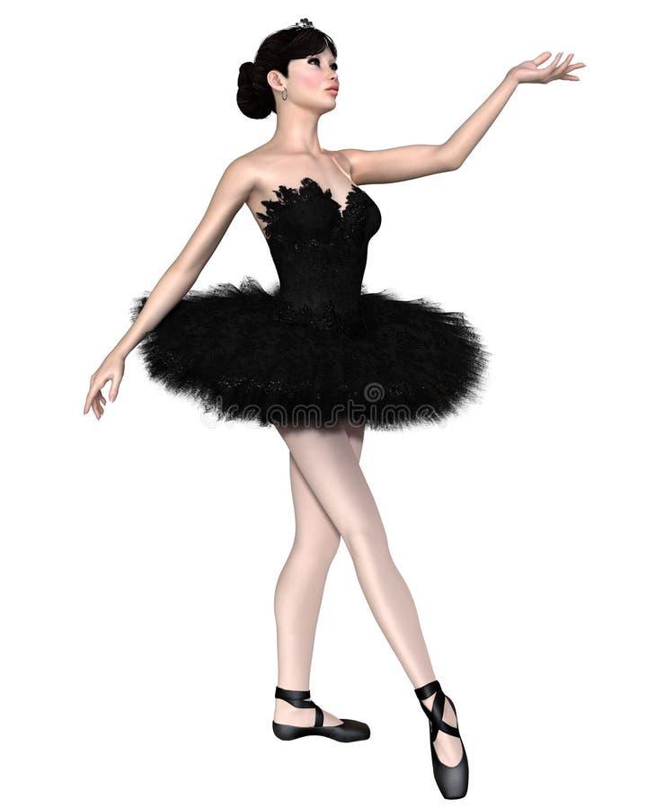 Black Swan Ballerina from Swan Lake royalty free illustration