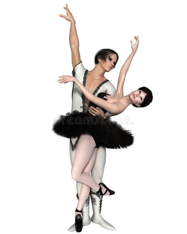 Black Swan Pas De Deux royalty free illustration