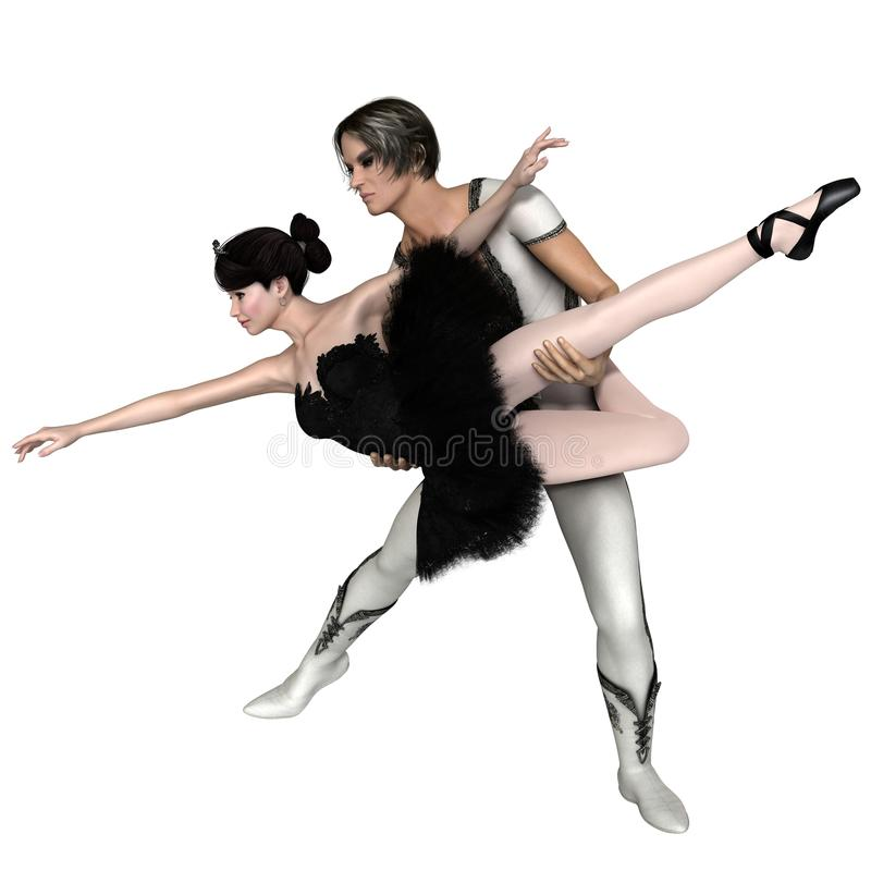 Black Swan Pas De Deux from Swan Lake royalty free illustration