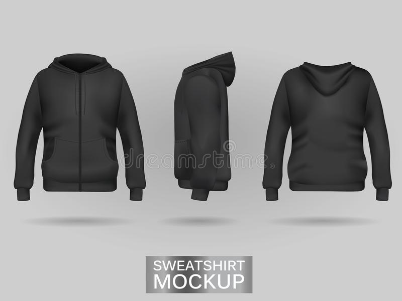 Black sweatshirt hoodie template stock illustration