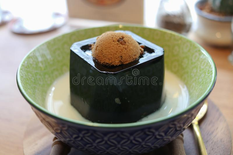 Black Sweet Jelly Pudding stock photo