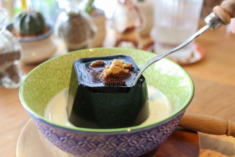 Black Sweet Jelly Pudding stock photo