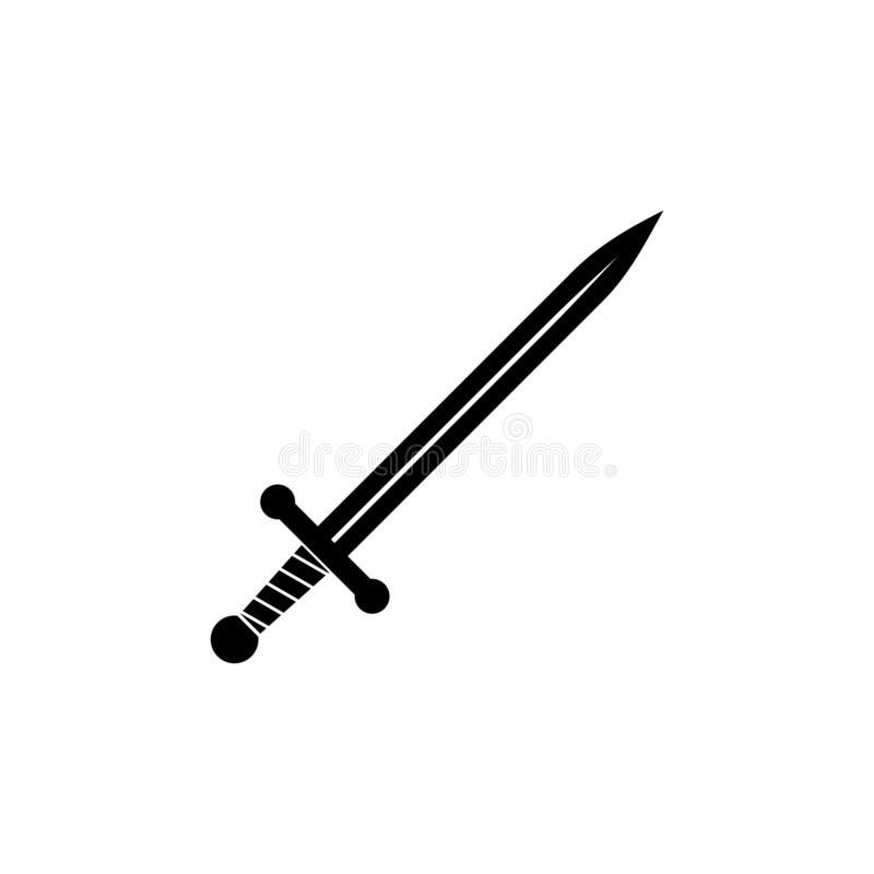 Black Sword icon or logo. On white background vector illustration
