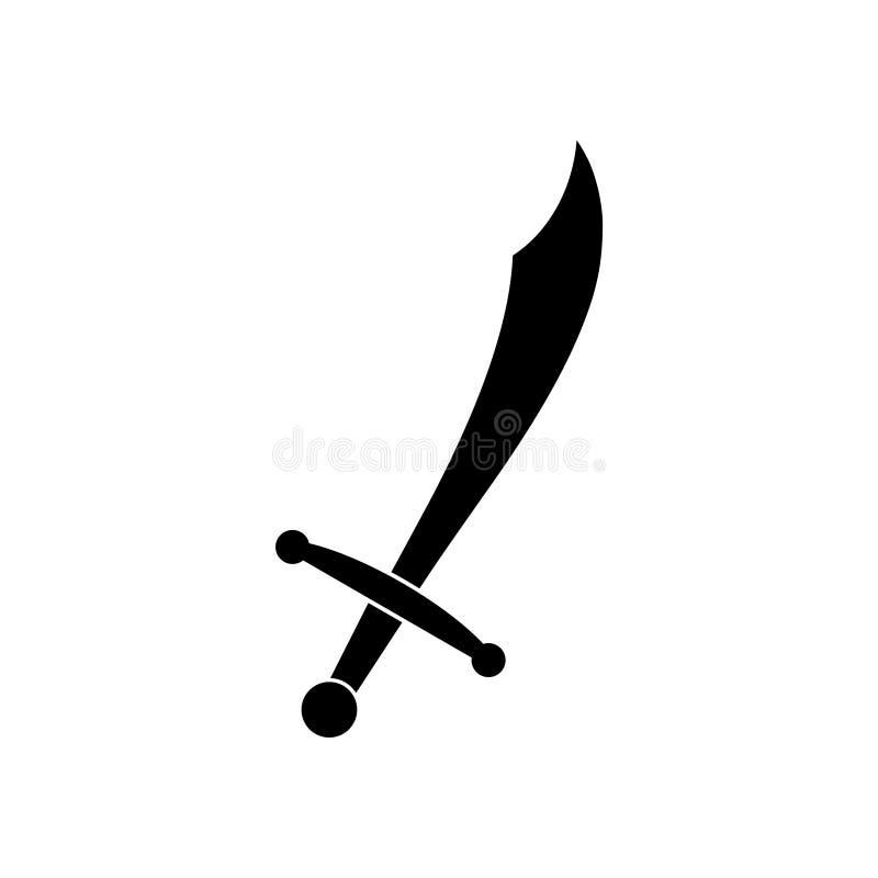 Black Sword icon or logo. On white background stock illustration
