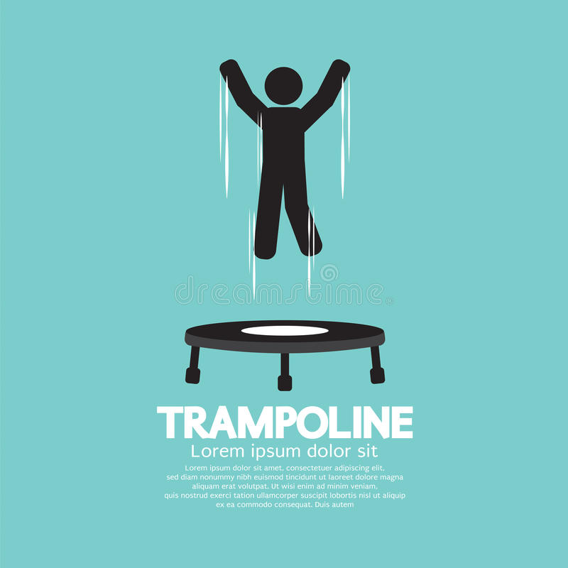 Black Symbol Of A Person Jumping On Trampoline. Vector Illustration royalty free illustration