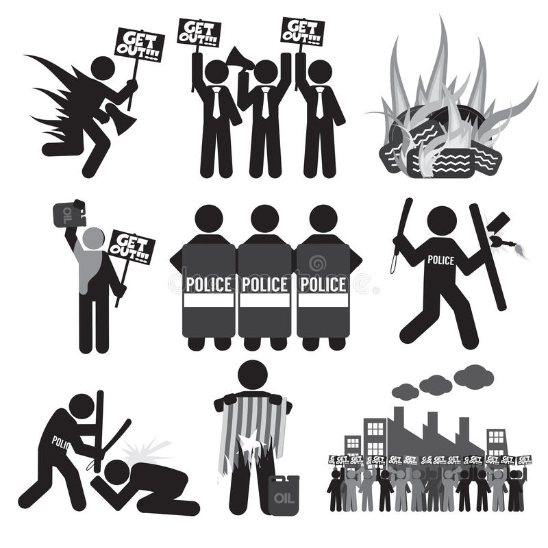 Black Symbol Protest Icon Set. stock illustration