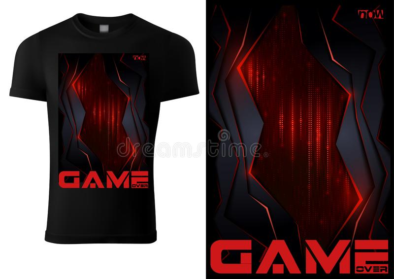Black T-shirt for Computer Game Players royalty free illustration