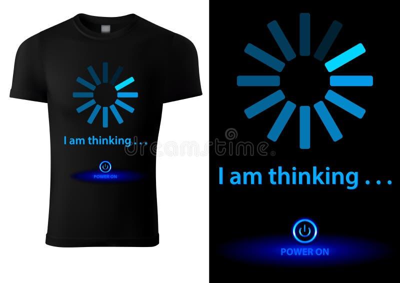 Black T-shirt Design with Blue Loading Bar royalty free illustration
