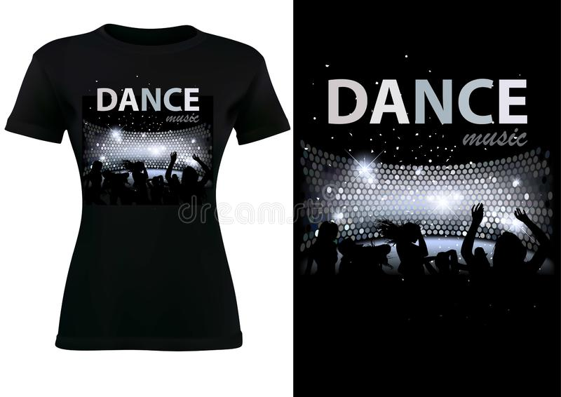 Black T-shirt Design with Disco Dance Theme stock illustration
