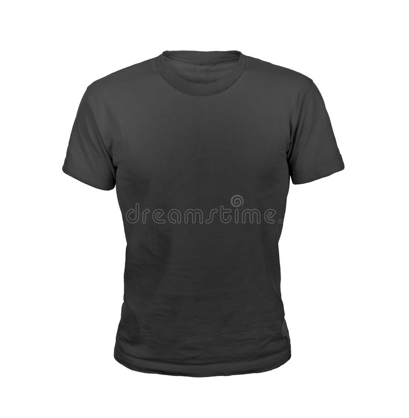 Black T-shirt isolated on white stock photos