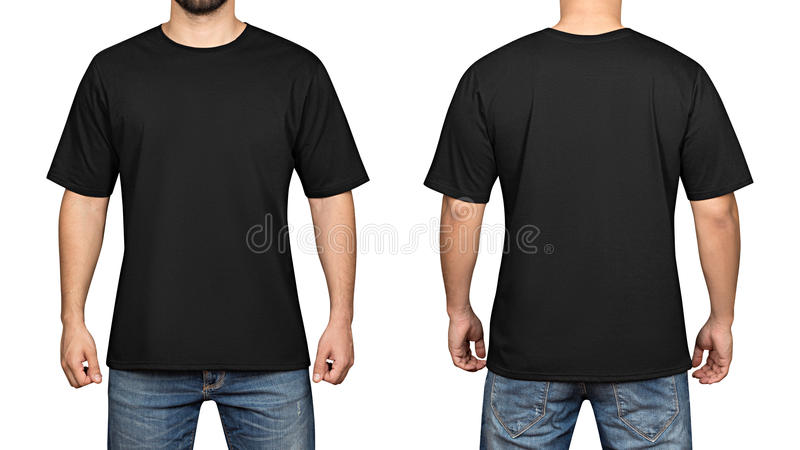 Black t-shirt on a young man white background, front and back royalty free stock photos