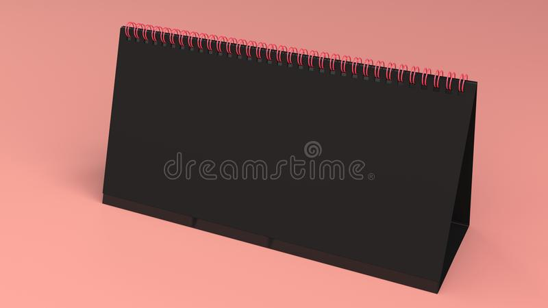 Black Table Calendar Mock Up On Red Surface Stock Image Image Of