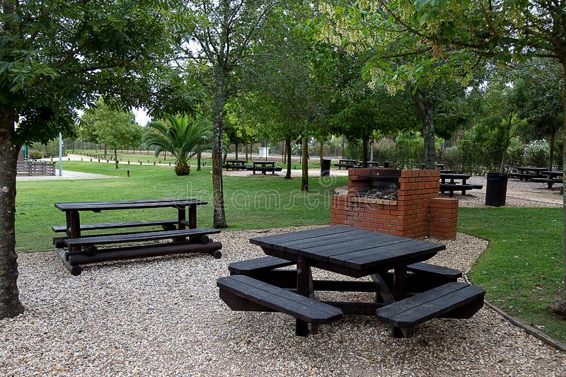 Black Table and Grill at the Park royalty free stock photo