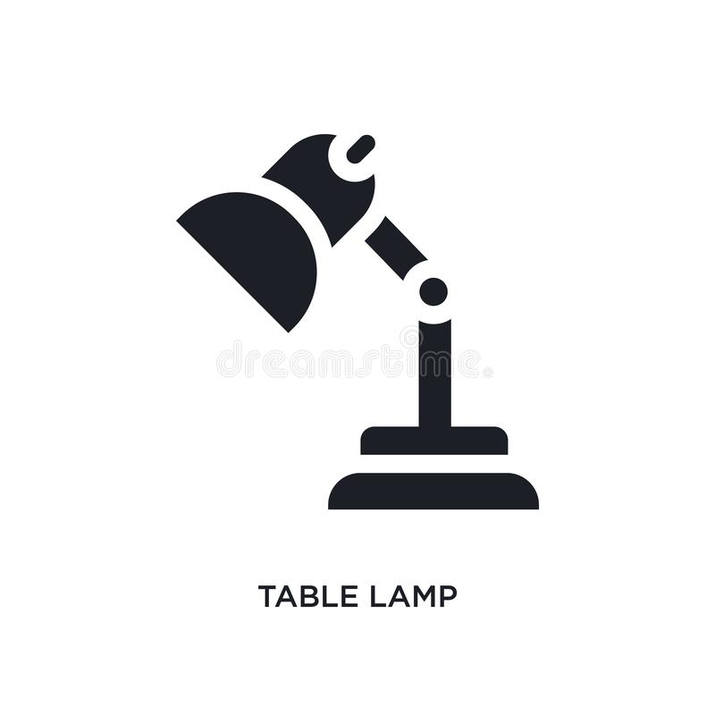 Black table lamp isolated vector icon. simple element illustration from furniture and household concept vector icons. table lamp. Editable black logo symbol vector illustration