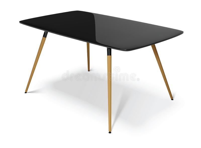 Black table with wooden legs, vector illustration. Black table with wooden legs isolated on white background, vector illustration stock illustration