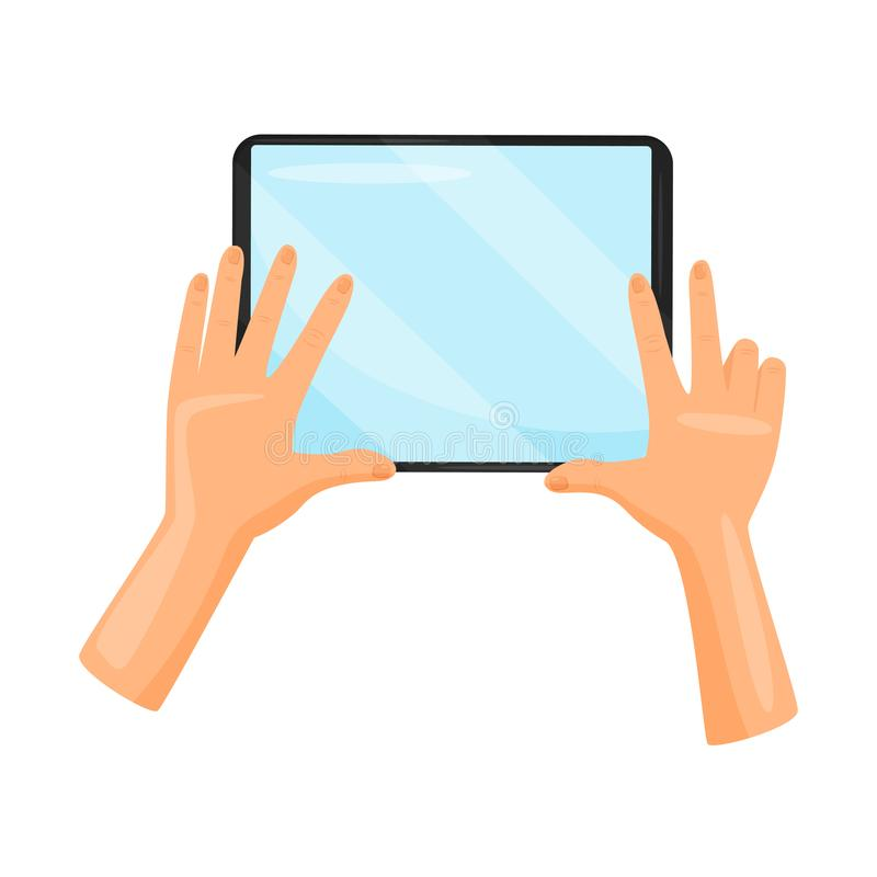 Tablet computer in human hands. Digital device. Gadget with blue screen. Modern technology. Flay vector icon. Black tablet computer in human hands. Digital stock illustration