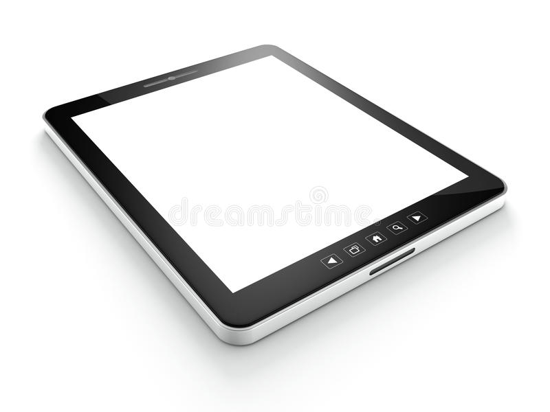 Black tablet computer (tablet pc) on white stock illustration